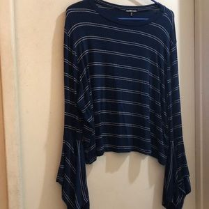 Plus Size - Blue and White Stripped Shirt